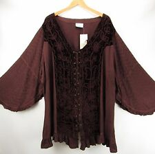 Holy Clothing NEW 4X Brown Boho Gypsy Gothic Romantic Renaissance Top NWT