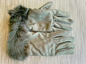 Lane Bryant Black Leather Glove with Faux Fur Womans Size 7/8