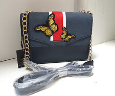 BNWT Lovely Atmosphere  Cross body Hand Bag Navy Blue Butterfly Embroidery