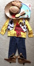 DISNEY STORE TOY STORY 3 WOODY COSTUME & HAT SIZE MEDIUM 7/8 NEW