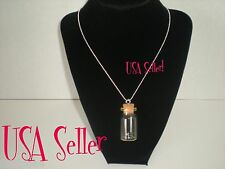 Small Glass Bottle Vial Charms Pendant with Cork, Eyehook, Ball Chain Necklace