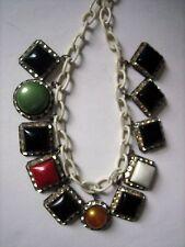 Vintage Bakelite (?)/Celluloid Necklace w/Rhinestones on White Link Chain