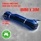Dyneema SK75 Synthetic Winch Rope, Cable 8mm x 30m, 4WD Boat Recovery Offroad