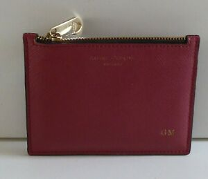 ASPINAL OF LONDON SAFFIANO LEATHER CARD HOLDER ZIP COIN PURSE HOT STAMPED G.M.