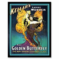 Vintage Advert Kellar's Golden Butterfly Illusion Vintage Magic Framed Art Print