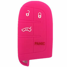 Hot Pink Silicone Keyless Remote Key Fob Case Skin Cover fit for Dodge 4 Buttons