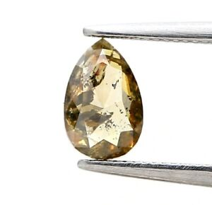 Natural Rustic Real Loose Diamond 0.61TCW Brown Sparkling Pear Rose Cut for Gift