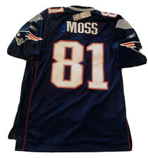 New Rare Randy Moss Mens XL Navy Reebok Patriots Stitched Replithentic Jersey