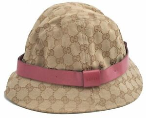 Authentic GUCCI Bucket Hat GG Canvas Leather Size L Beige Pink E2939