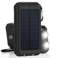 Solar LED 500000mAh Power Bank Charger Case DIY Waterproof Dual USB+No BattBLGK