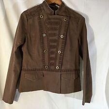 Ruff Hewn Women's Brown Embroidered  Band Jean Jacket Blazer Medium