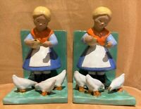 Pair of Antique or Vintage Ceramic Girl Feeding Birds Rappi Bookends Hungary