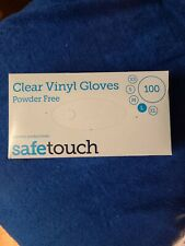 Safe Touch - Clear Vinyl Powder Free Disposable Gloves - Large - Box of 100