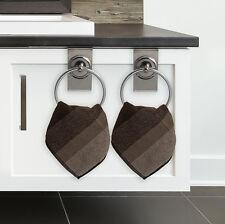 Set of 2 Clip On Hand Towel Bar Rings Bathroom Kitchen Cabinet Chrome Holder