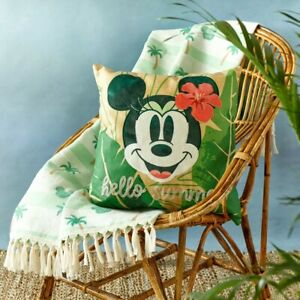 Disney Store Mickey Mouse Tropical Throw Blanket and Pillow Set New with Tags