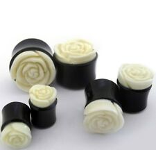 "PAIR-Horn w/White Rose Bone Double Flare Plugs 16mm/5/8"" Gauge Body Jewelry"
