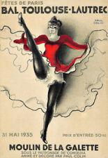Bal Toulouse Lautrec Dance Cancan Deco  Colourful  Poster Print