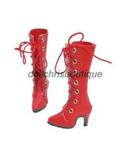"Boots Shoes for Tonner 16"" Ellowyne Wilde Doll Red Tall Lace-Up Custom Size New"