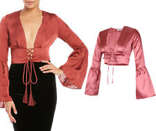 Women Lace Up Front Satin Plunge V Neck Bell Long Sleeve Blouse Crop Top UK 8-14