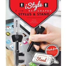 Mustard iStyle 2-in-1 Key Shaped Stylus & Stand Black Tablet Phone Keychain Ring