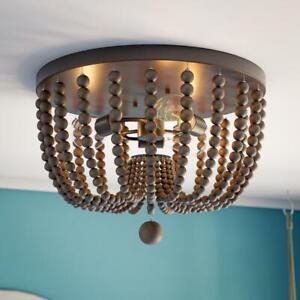 Kenroy Home Dumas 15.75 in. 3-Light Golden Bronze Wood Bead Flush Mount Light