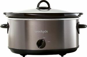 Crock-Pot - 6-Quart Manual Slow Cooker - Black Stainless Steel