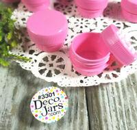 12 PINK Opaque 1/4oz  DIY Makeup  Plastic JARS 1TSP Container 3301 DecoJars  USA