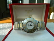 Must de Cartier 21 Stainless Steel & Gold Ladies Quartz Watch 1990's Very Clean.