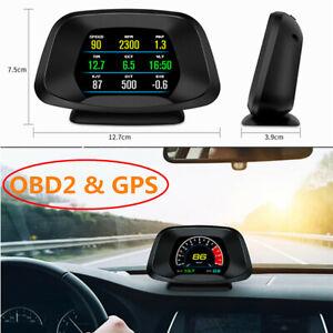 Car HUD Head Up Display OBD2 & GPS Dual Mode Speedometer Projector Plug & Play