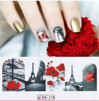 12 Sheet/Pack Nail Decal Wraps Sticker Water Transfer Manicure Nail Art Decor