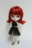"""12"""" Neo Blythe Doll from Factory Wine Red Short Hair With Bang"""