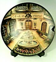 "Wine Italian Tuscan Decorative Displa Dinner Plate Dish 10"" Courtyard Fountain"