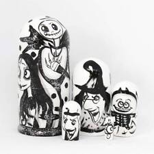 "Matryoshka Wooden Dolls ""The Nightmare Before Christmas"" 5 pcs hand painted #9"