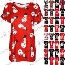 Womens Christmas Santa Reindeer Baggy Oversize Top Ladies Turn Up Sleeve T Shirt