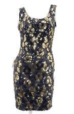 La Glo Bodycon Dress Size 7/8 Black Gold Sequins Rose Floral Pattern Vtg 80s 90s
