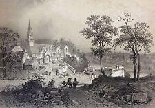Lithographie Originale Châteaulin 1860 Bretagne Finistère France