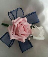 PINK NAVY Wedding Pin Corsage Bridal Flowers White Diamante Pearls Organza