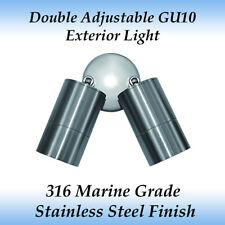 Double Adjustable Gu10 Exterior Light in 316 Marine Grade Stainless Steel