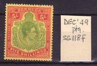 BERMUDA George VI SG118f 5/- Dec. 49 prtg,single,multi-colour  lightly hinged