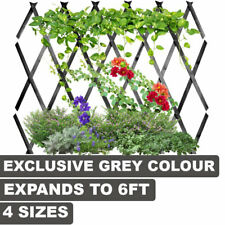 More details for expanding grey wooden trellis climbing plants fence panel screening lattice new