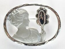 Brooch Pin - Oval - Woman Looking In Hand Held Mirror - Silver Tone