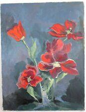 Tableau bouquet de coquelicots, peinture huile sur toile XXème