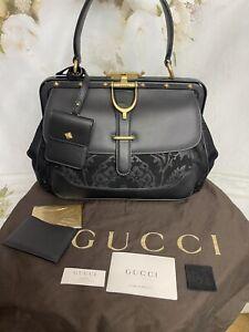Gucci Nubuck Brocade Medium Lady Stirrup Black Top Handle Bag Brand New RT $3995