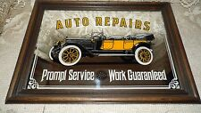 VINTAGE AUTO REPAIRS MIRROR IN WOOD FRAME ANTIQUE CAR PICTURE MAN CAVE
