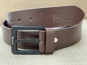 """New Men's Hugo Boss Belt Brown Leather 42""""Metal Buckle"""