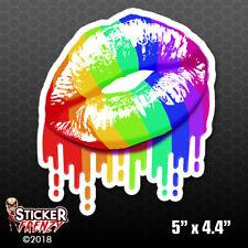 Pride Dripping Lips Gay Lesbian Bumper Sticker Car Decal LGBT Gift Rainbow Sexy