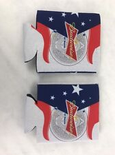 Budweiser 2 X Bud Beer Can American Flag Cooler Koozie Coozie King Of Beers New