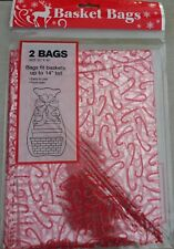 "Nip Two Christmas Candy Cane Gift Wrap Red cellophane basket bag 22"" x 30"""