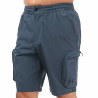 Mens Under Armour Unstoppable Woven Cargo Shorts In Grey- Ua Storm Technology