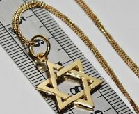 9ct Yellow Gold on Silver STAR OF DAVID Pendant Necklace & 18 inch Chain